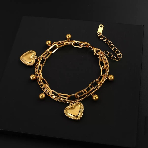 Vintage Love Heart Gold Chain Bracelet